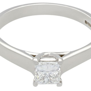 0.48 ct Diamond and 18 ct White Gold Solitaire Ring - Vintage Circa 1990