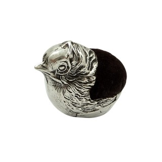 Antique Edwardian Sterling Silver Chick / Bird Pin Cushion 1908
