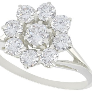 1.31ct Diamond and 18ct White Gold Cluster Ring - Vintage French Circa 1970