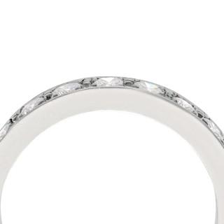 0.90ct Diamond and 18ct White Gold Half Eternity Ring - Vintage Circa 1970