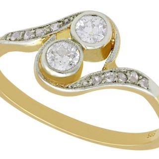 0.31ct Diamond and 14ct Yellow Gold Twist Ring - Antique Circa 1920