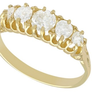 0.95 ct Diamond and 18 ct Yellow Gold Five Stone Ring - Antique Circa 1910