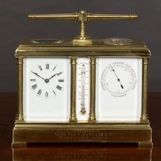 Victorian Brass Cased Clock, Barometer and Compass Compendium set