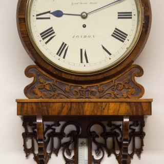 Victorian English Fusee Mahogany Dial Clock with Thermometer by G.Morris, London