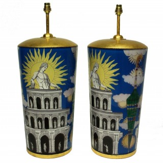 A PAIR OF LARGE DECLAMANIA FORNASETTI STYLE LAMPS