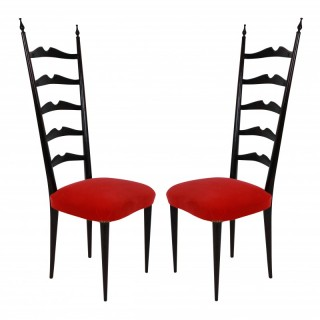 A PAIR OF HIGH BACK HALL CHAIRS BY PAOLO BUFFA