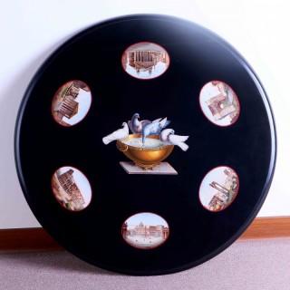 義大利微型馬賽克鑲崁黑色大理石手工雕刻桌