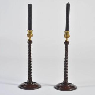 Pair of Georgian Mahogany Candlesticks with Brass Sconces, circa 1760