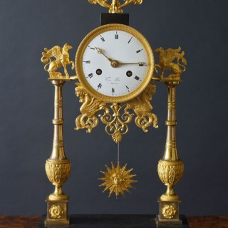 French Directoire Ormolu and Marble Pillar Mantel Clock