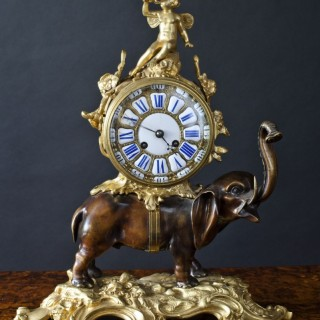 French Bronze Elephant Clock