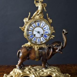 French Bronze Elephant Mantel Clock