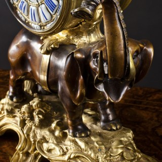 French Bronze Elephant Clock
