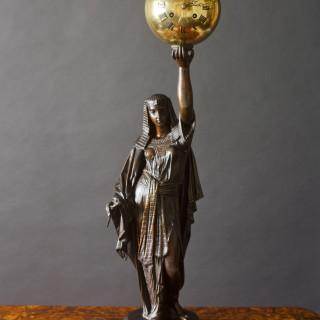 French Napoleon III  Bronze Figural Mantel Clock Depicting Aurora