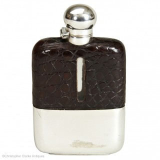 Small Crocodile Hip Flask by Z. Barraclough & Sons