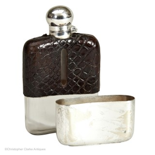 Small Crocodile Hip Flask by Z. Barraclough & Sons