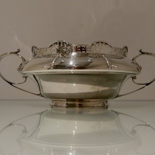 Early 20th Century Antique George V Sterling Silver Flower Bowl Sheffield 1926 Walker & Hall