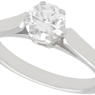 0.86 ct Diamond and 14 ct White Gold Solitaire Ring - Vintage Austrian Circa 1940