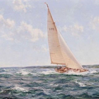 Montague Dawson: 'Down Solent' showing 'Cohoe', the 1950 Transatlantic Race winning yacht of K. Adlard Coles