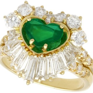 1.63 ct Emerald and 2.31 ct Diamond, 18 ct Yellow Gold Dress Ring - Vintage Circa 1990
