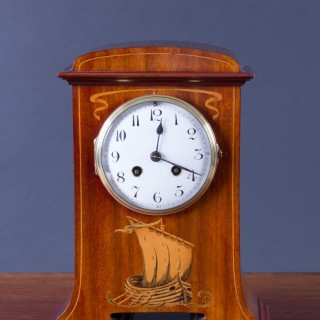 French Art Nouveau Mahogany Mantel Clock