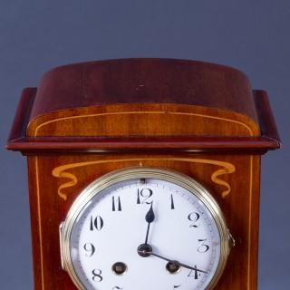French Art Nouveau Mahogany Mantel Clock