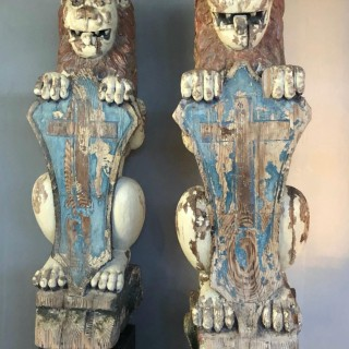 Antique Carved Pitch Pine Lions Of Large Proportions. Scottish 18th Century