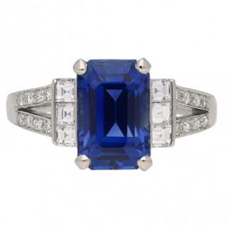Art Deco Ceylon sapphire and diamond ring, English, circa 1935.