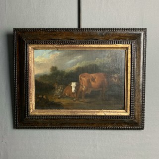English early 18th Century oil on canvas of a country scene