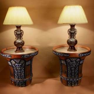 "A Pair Of Very Rare And Impressive Decorative Art Deco Large Pottery ""gres"" Jardinières, Eliminated Side Tables"