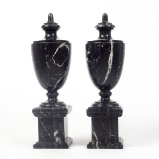 Pair of Black Marble Classical Urns