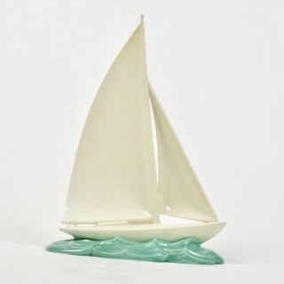 A Large Poole Pottery Art Deco Racing Yacht 1930s