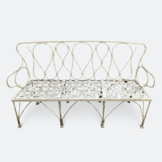Early 1920's Faux Bamboo Wrought Iron Garden Bench