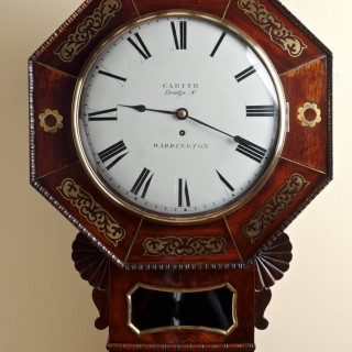 Mahogany Inlaid English Fusee Drop Dial Wall Clock by Carter of Warrington