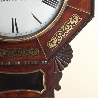 Mahogany Inlaid English Fusee Drop Dial Wall Clock by Carter of Warrington