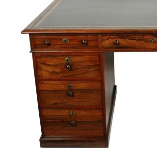 Victorian Rosewood Pedestal Desk