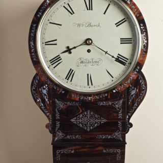 Regency Coromandel English Fusee Drop Dial Wall Clock by William Burch, Maidstone