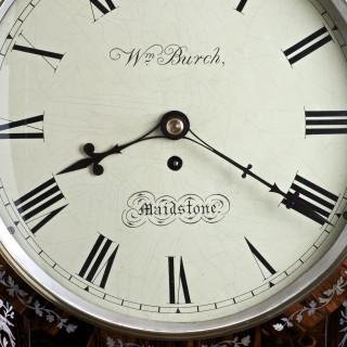 Regency Coromandel English Fusee Drop Dial Wall Clock by William Burch, Maidstone