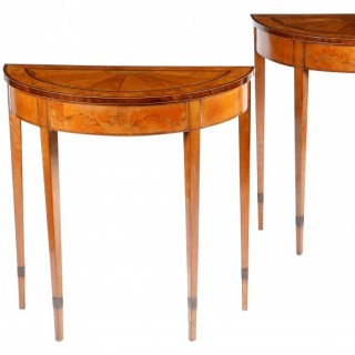 A Very Fine Pair of 18th Century Irish Satinwood Console Tables