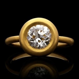 A beautiful 1.59ct old European brilliant cut diamond ring in satin finished 22ct yellow gold.