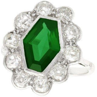 1.45ct Tourmaline and 1.96ct Diamond, 18ct White Gold Dress Ring - Antique Circa 1920