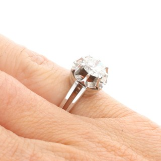 1.05ct Diamond and 18ct White Gold Solitaire Ring - Antique Circa 1930