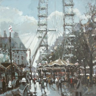 Carousel, South Bank with London Eye