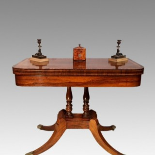 Regency rosewood pedestal card table.