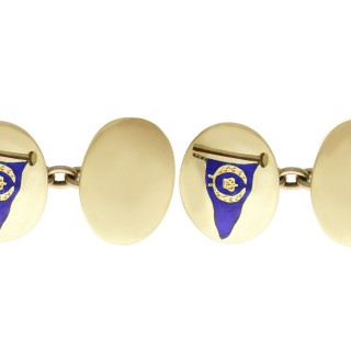 9ct Yellow Gold and Enamel Cufflinks - Vintage 1984