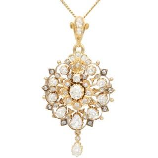 5.06ct Diamond and 18ct Yellow Gold Pendant / Brooch - Antique Circa 1880