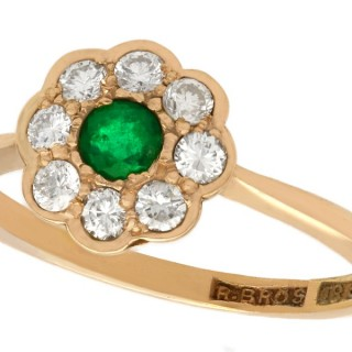 0.19ct Emerald and 0.40ct Diamond, 18ct Rose Gold Cluster Ring - Antique Circa 1920