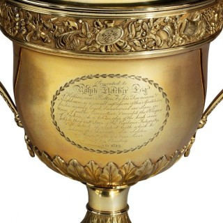 A monumental Regency silver-gilt presentation cup and cover by Peter and William Bateman