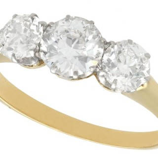 1.56ct Diamond and 18ct Yellow Gold Trilogy Ring - Antique Circa 1930