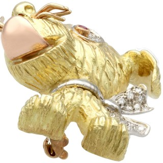 0.27 ct Diamond and Ruby, 16 ct Gold and Platinum Dog Brooch - Vintage Circa 1950