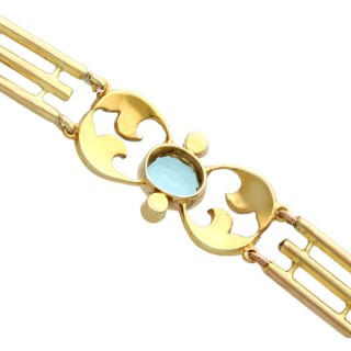 2.55 ct Aquamarine and Seed Pearl, 15 ct Yellow Gold Gate Bracelet - Antique Circa 1920
